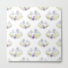 Purple lavender white bunny watercolor floral illustration Metal Print