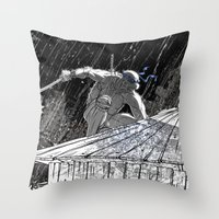 ninja turtle Throw Pillows featuring Black and White Ninja Turtle Leonardo by James Tuer