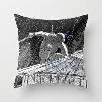 ninja turtle Throw Pillows featuring Black and White Ninja Turtle Leonardo by James Tuer