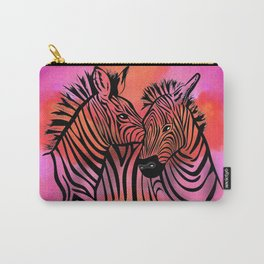 portrait of two zebras together illustration colorful watercolor background Carry-All Pouch