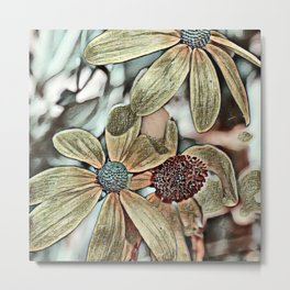 Toony World Floral 1 Metal Print