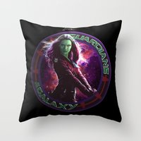 thanos Throw Pillows featuring Gamora - Guardians Of The Galaxy by Leamartes