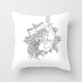 aerial yoga abstract lotus outlines // coloring page Throw Pillow