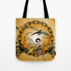 Cute fairy with songbirds Tote Bag