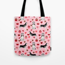 Husky Siberian Huskies dog breed valentines day love pattern print by pet friendly for dog person Tote Bag