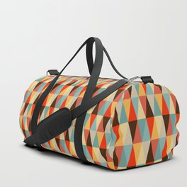 Red & Brown Geometric Triangle Pattern Duffle Bag