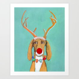 George the Holiday Hound Art Print