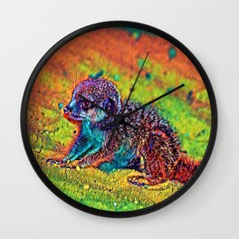 AnimalColor_Meerkat_004_by_JAMColors Wall Clock