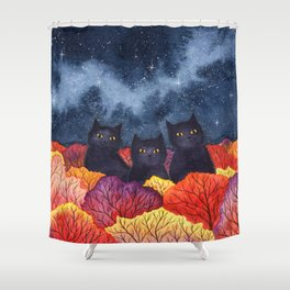 Three Black Cats in Autumn Watercolor Shower Curtain