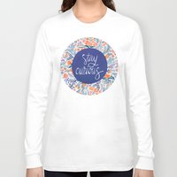coral Long Sleeve T-shirts featuring Stay Curious – Navy & Coral by Cat Coquillette