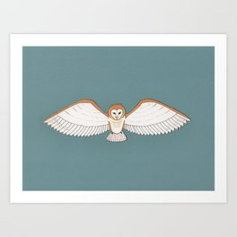 Barn Owl in Teal Art Print