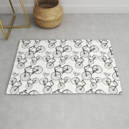 Vintage bike pattern on white background Rug