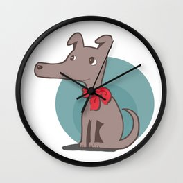 Dog with a Red Scarf Wall Clock