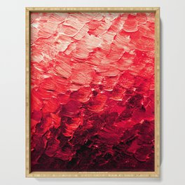 MERMAID SCALES 4 Red Vibrant Ocean Waves Splash Crimson Strawberry Summer Ombre Abstract Painting Serving Tray