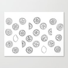 Citrus Black and White Canvas Print