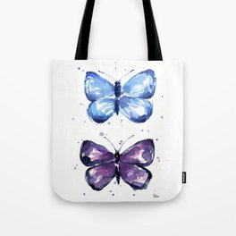 Butterflies Watercolor Blue and Purple Butterfly Tote Bag