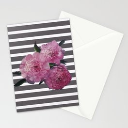Painted Pink Peonies on Striped Background Stationery Cards