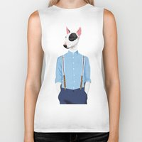 bull terrier Biker Tanks featuring Skinhead Bull Terrier by drawgood