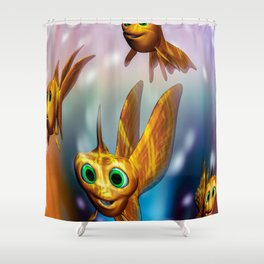 Three little fishies and a mama fishie too Shower Curtain