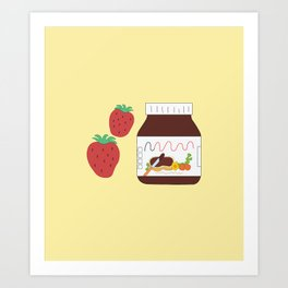 Nutella and Strawberries Art Print