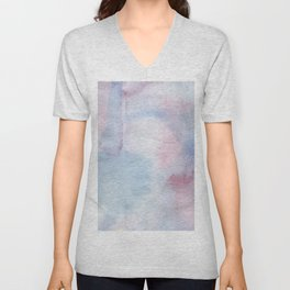 Abstract pastel blue pink watercolor paint pattern Unisex V-Neck