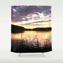 Sunset By The Lake - Summer Scene Shower Curtain