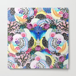 Whimsical abstract hand paint design Metal Print
