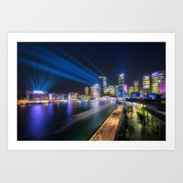 Laser Show above the Sydney Skyline Art Print