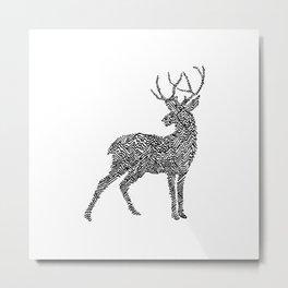 Deer in Mountain Lines Metal Print