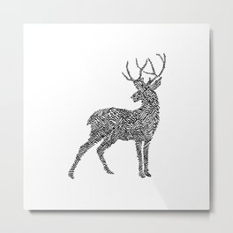 Deer in Mountain Lines Metal Print
