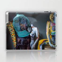 Doberman in Bird Cage Modeling with Nude Painted Mannequins Artistic and Colorful Laptop & iPad Skin