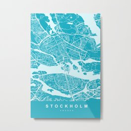 Stockholm Sweden Map   Blue & Cyan   More Colors, Review My Collections Metal Print
