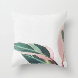 Pink Leaves II Throw Pillow