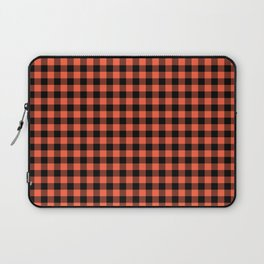 Living Coral Orange and Black Buffalo Check Plaid Laptop Sleeve