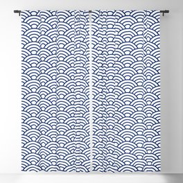 Japanese Blue Art Deco Waves Blackout Curtain