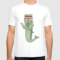 Portrait of a two headed merman MEDIUM Mens Fitted Tee White