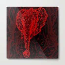 Elephant Mosaic (Red on Black Variant) Metal Print