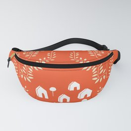 Line Vine Village in Red, Line Art Community Fanny Pack