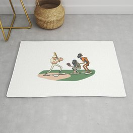 Baseball batter preparing home run Rug