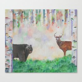 The relationship between a bear and a deer Canvas Print