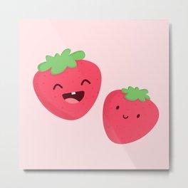 Happy Strawberries Metal Print