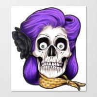 rockabilly Canvas Prints featuring Rockabilly Skull by Mark Matlock