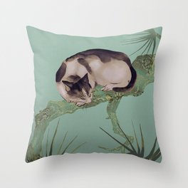Cat In The Pines Throw Pillow
