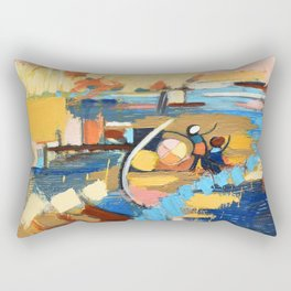 West End Blues Abstract Expressionism Painting Rectangular Pillow