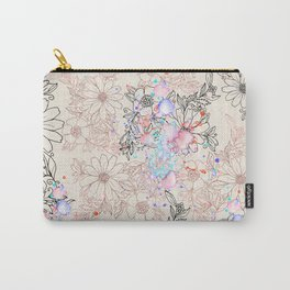 Modern vintage black rose gold watercolor floral Carry-All Pouch