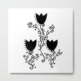 Three Tulips Doodle Art – Black Graphic Metal Print