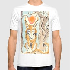 Whimsical Fox MEDIUM White Mens Fitted Tee