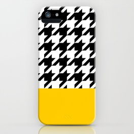 Houndstooth with mustard stripe iPhone Case