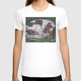 Irish Red and White Setter dog art from an original painting by L.A.Shepard T-shirt