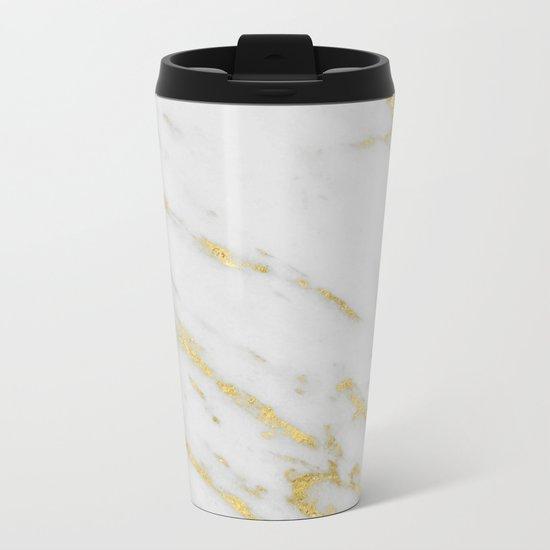 Marble - Shimmery Gold Marble on White Pattern Metal Travel Mug